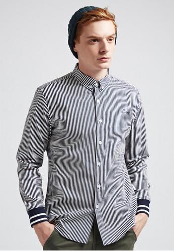 率性街頭。抗皺細條。羅紋袖zalora taiwan 時尚購物網長袖襯衫-03619-藍白條, 服飾, 印花襯衫