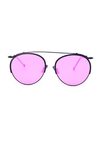 Kyfer's Eyewear & Essentials black and purple Vintage Metal Round Sunglasses KY376AC10DWZSG_1
