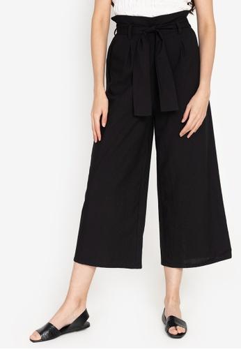 ZALORA BASICS black High Rise Paperbag Culottes 2C5BDAA8E14500GS_1