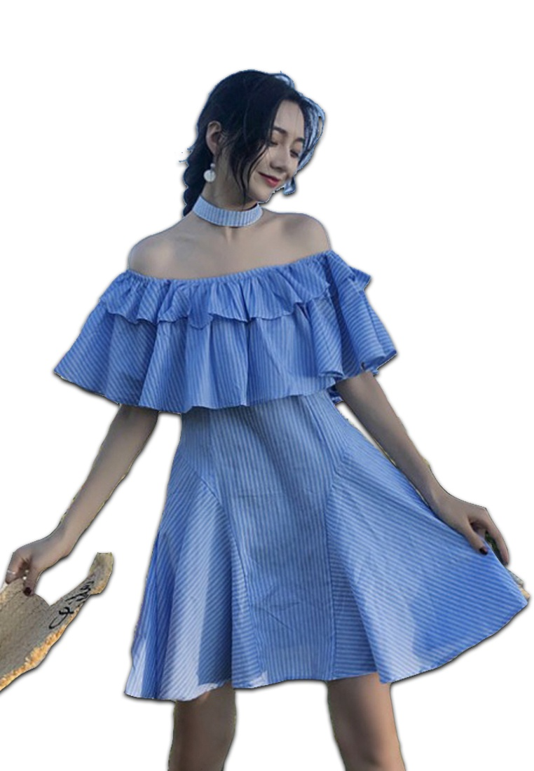 Pattern Piece Off CA062905BL Dress Sunnydaysweety Blue One Blue 2018 Striped New Shoulder qIx77wt0