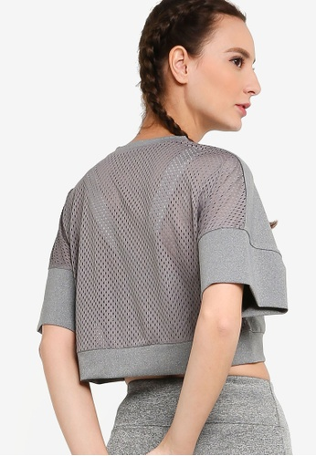 ZALORA ACTIVE grey Crop Back Mesh Sports T-Shirt 04BC4AA72CC089GS_1
