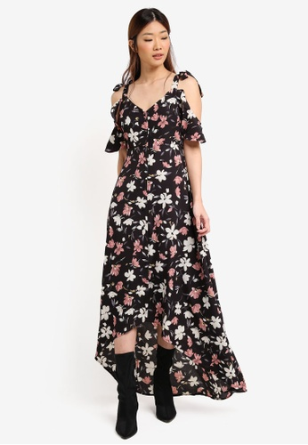 Something Borrowed black Button Down Dip Hem Maxi Dress F3ED4AA0259687GS_1