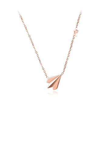 Glamorousky silver Simple Personality Plated Rose Gold Aircraft 316L Stainless Steel Pendant with Necklace D561EAC66B6A29GS_1