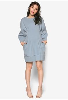 韓時尚寬袖腰飾洋裝