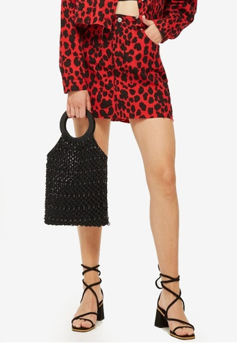 TOPSHOP 紅色 Red Leopard Denim Skirt C3E28AAE2BFE59GS_1