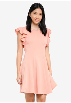 541c969721 ZALORA pink Ruffle Sleeve Belted Fit And Flare Dress C511FAACDB47D9GS 1