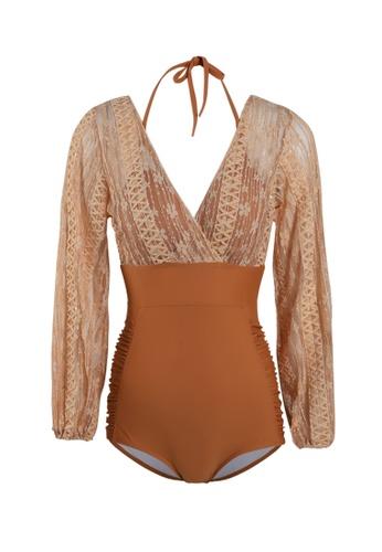 Its Me orange Elegant Lace One Piece Bikini Swimsuit 26C8EUSD203835GS_1