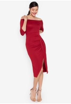 bf02e24158f Daria red Divina Off Shoulder Draped Midi Dress 4B8DBAA5C4B4FFGS 1