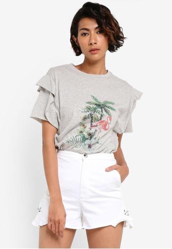Mango grey Printed Cotton T-Shirt MA134AA05MYKPH_1