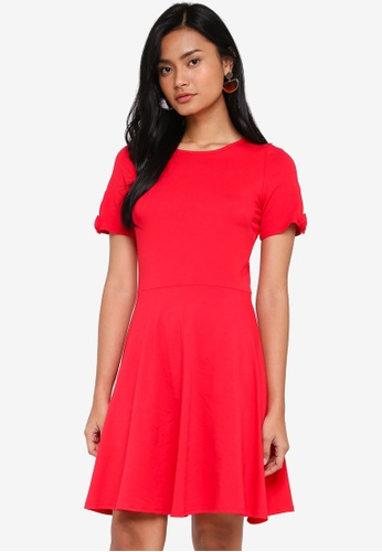 Dorothy Perkins 紅色 Red Bow Sleeve Skater Dress 00B43AA1F91661GS_1