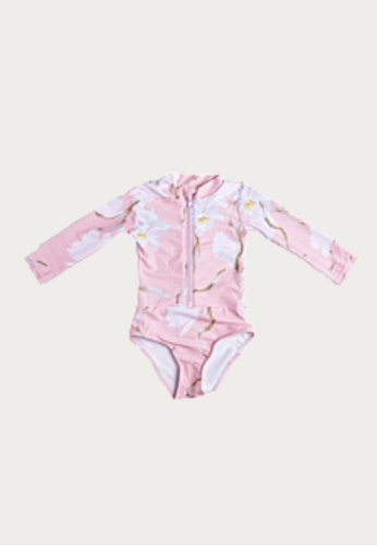 Mommy Hugs multi Peach ZIp-up Rash guard Twinning Swimwear - Girl Version 6BC89KA67C5B28GS_1