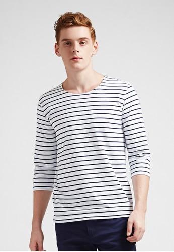 簡約休閒。條紋棉質。七分袖藍標圓領T-03628-白色, 服飾, 條esprit outlet紋T恤