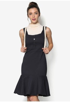 Stretch Cotton Dress with Ruffles