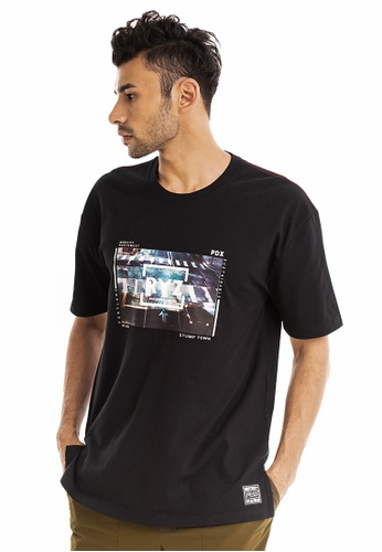 RYZ black RYZ Crosswalk Graphic Print Black Short Sleeve T-Shirt. 11CB5AA1DCBB0DGS_1