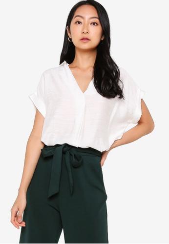ZALORA BASICS white Textured Short Sleeve Top 0BBCFAAD36CF4FGS_1