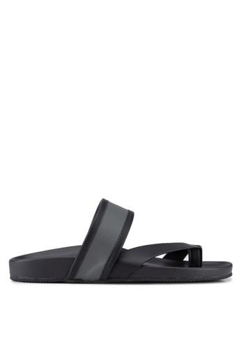 ZALORA black and grey Contemporary Triple Strap Faux Leather Sandals 8250DSH3D0C291GS_1