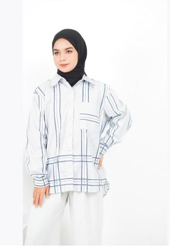 My Daily Hijab white and blue Anya Houndstood Blouse 651C3AAFA36FEAGS_1