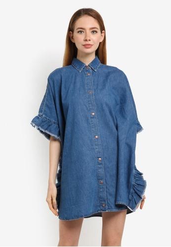 River Island blue Frill Denim Shirt Dress 45C4FAAD6C7907GS_1