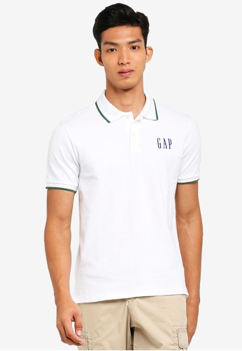 GAP white Tipped Logo Polo Shirt 20C51AA167AA21GS_1