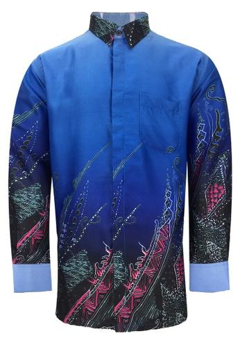 Pacolino blue Pacolino - Long Sleeve Blue Color Printed Batik Shirt 6B537AA8648C6EGS_1