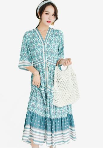 Shopsfashion blue Boho Maxi Dress 660F9AABD5CC94GS_1
