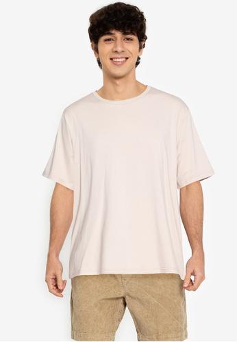 ZALORA BASICS beige Relaxed Fit T-Shirt CEAB1AA8902DD3GS_1