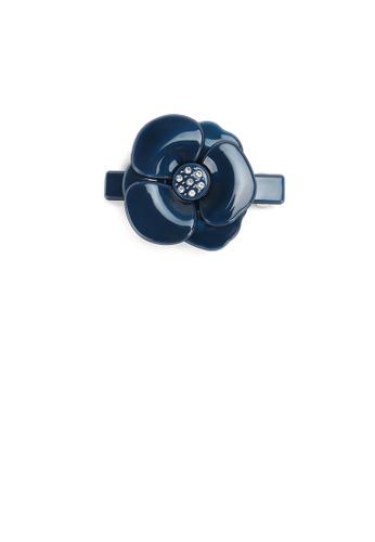 Glamorousky blue Fashion and Elegant Dark Blue Flower Small Hair Slide with Cubic Zirconia 1C7F3AC522377FGS_1