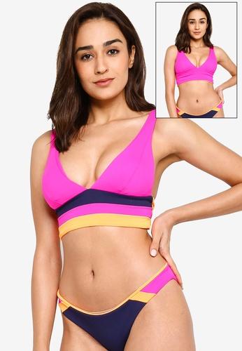 Maaji pink and multi Reversible Caribe Jukebox Long Line Bikini Top 788F3US00E0A4EGS_1