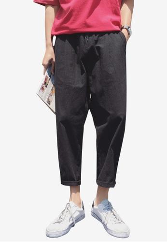 hk-ehunter black Men Relax Fit Cropped Pants C44B5AA245C30BGS_1