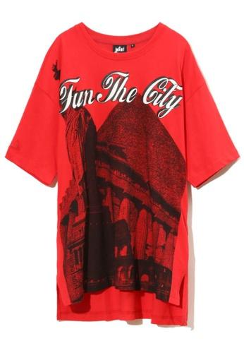 Mini cream red City graphic print drop hem tee 2CE76AAFEBB08BGS_1