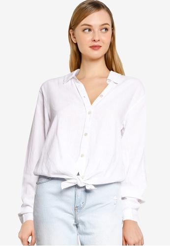 Abercrombie & Fitch white Boyfriend Linen Shirt A816AAA8A68A7DGS_1