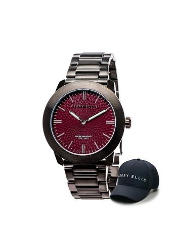 Perry Ellis silver Perry Ellis Slim Line Unisex 42mm Quartz Stainless Steel Watch 07005-02 with Perry Ellis Cap C5101ACCFFB7BAGS_1