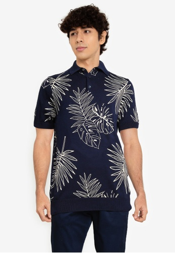 Ben Sherman blue and navy Floral Polo Shirt 94990AACF58159GS_1