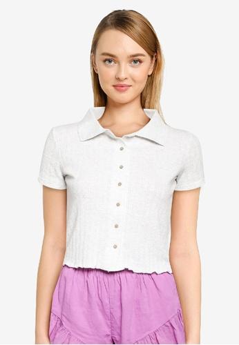 Cotton On Body grey Knit Pointelle Polo Top 8847DAA24ABDEAGS_1