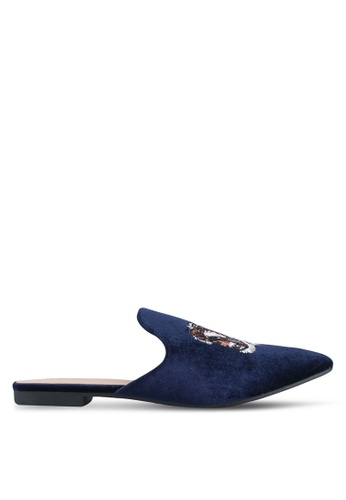 Nose navy Tweed Butterfly Print Mules NO327SH0SJ13MY_1