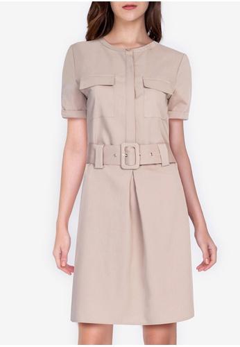 ZALORA WORK beige Short Sleeves Pleated Detail Dress 38C50AA9BF5D65GS_1