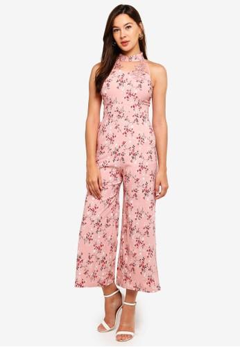 Megane pink Red Romance Jessamine Mandarin Collar Jumpsuit 44965AA6303106GS_1