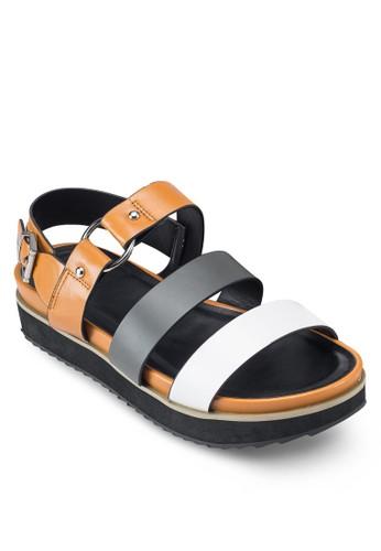 撞色繞踝厚底京站 esprit涼鞋, 女鞋, 鞋