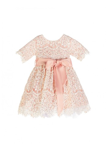 Luna Luna pink and gold Jacqueline Lace Baby Dress 51543KAEF13733GS_1
