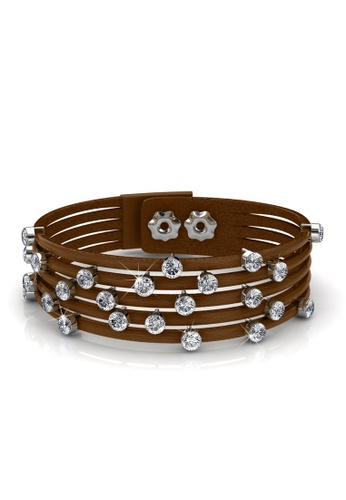 Her Jewellery silver and brown Swarovski® Crystals - Twinkling Bit Bracelet (Brown)(18K White Gold Plated) Her Jewellery HE581AC0RAD7MY_1