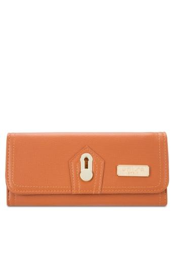 Unisa brown Textured Bi-Fold Metal Lock Wallet UN821AC52EKLMY_1