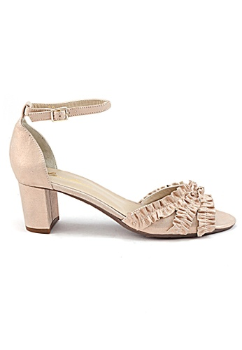 Shu Talk gold Summer Suede Peep Toe Heels With Lovely Ruffles SH397SH0FPJZSG_1