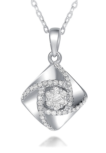 Prince Jewellery And Watch white and silver and gold 18K White Gold Diamond Rhombus Pendent 49BAEAC0B5545EGS_1