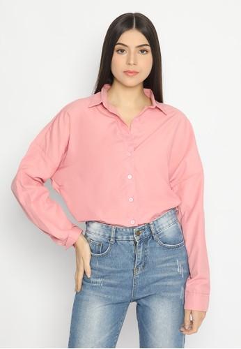 Mannequin pink Oversized Cotton Top B5CFFAA02822A3GS_1