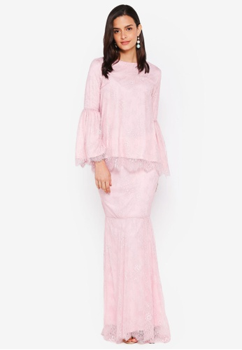 Lubna pink Full Lace Flared Sleeve Kurung D0C3EAA4B78125GS_1