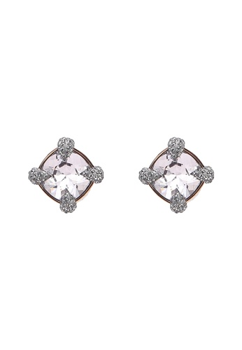 Swarovski pink and silver Make Up Pierced Earrings D4122AC1784A0FGS_1