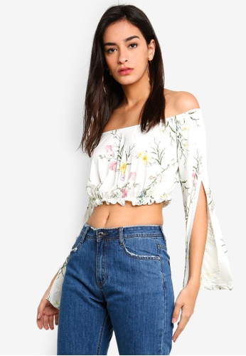 110f137cece61 Buy MISSGUIDED White Floral Jersey Bardot Top Online on ZALORA Singapore