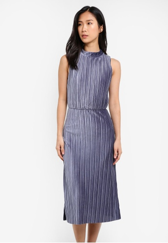 WAREHOUSE grey Velvet Plisse Midi Dress WA653AA0SC03MY_1