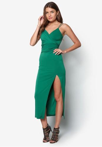 Nadia 側開衩裹飾zalora鞋洋裝, 服飾, 服飾