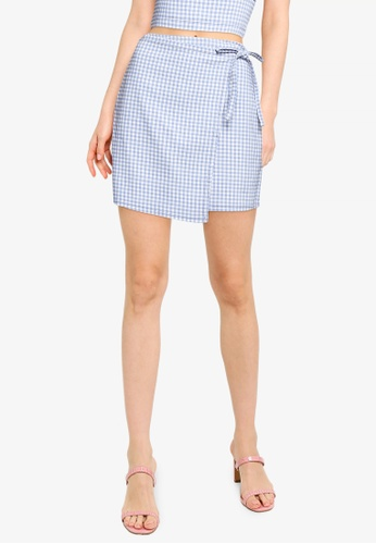 Hollister blue Wrap Plaid Skirt E6B01AAAF7ADC8GS_1